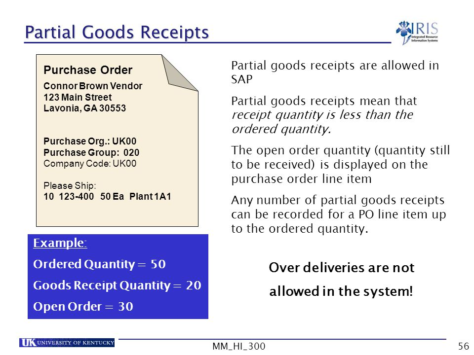 Partial Goods Receipts