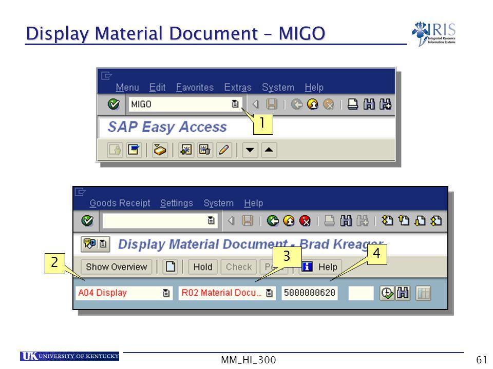 Display Material Document – MIGO