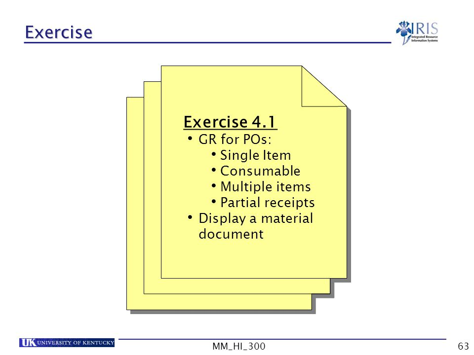 Exercise Exercise 4.1 GR for POs: Single Item Consumable