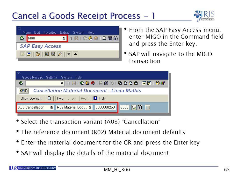 Cancel a Goods Receipt Process - 1