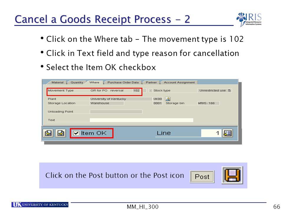 Cancel a Goods Receipt Process - 2