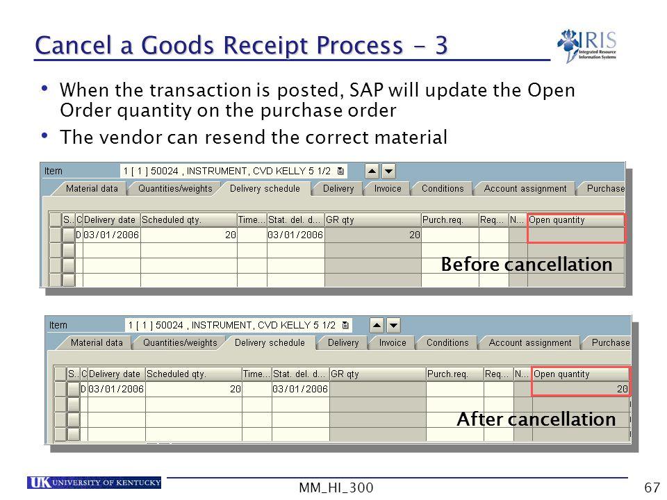 Cancel a Goods Receipt Process - 3