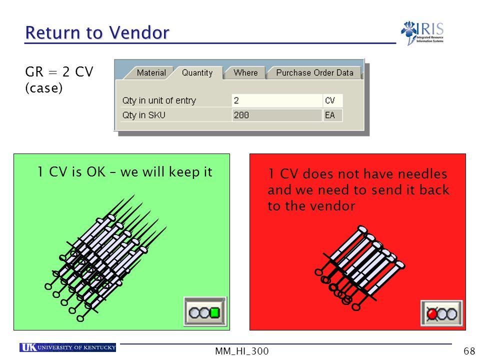Return to Vendor GR = 2 CV (case) 1 CV is OK – we will keep it