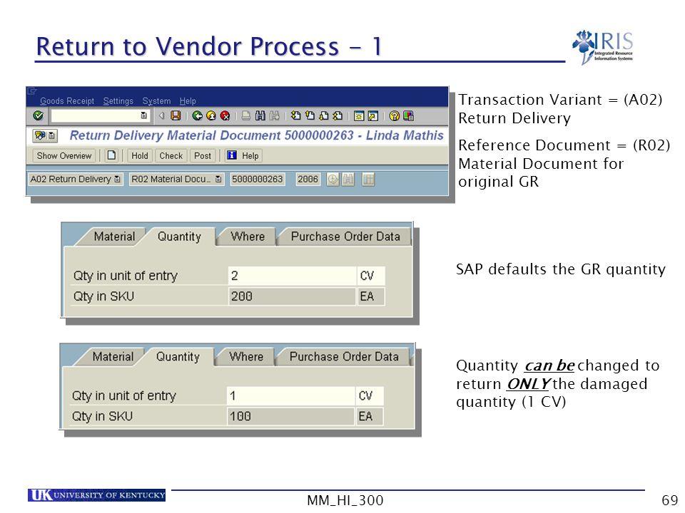 Return to Vendor Process - 1