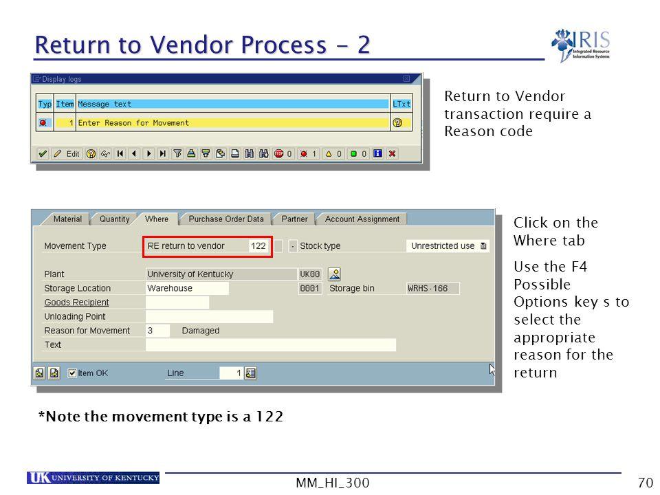 Return to Vendor Process - 2