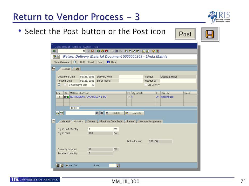 Return to Vendor Process - 3