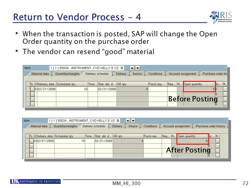 Return to Vendor Process - 4