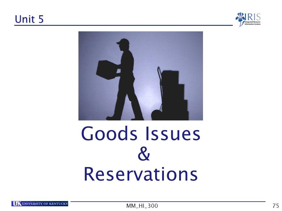 Unit 5 Goods Issues & Reservations MM_HI_300 MM_HI_300