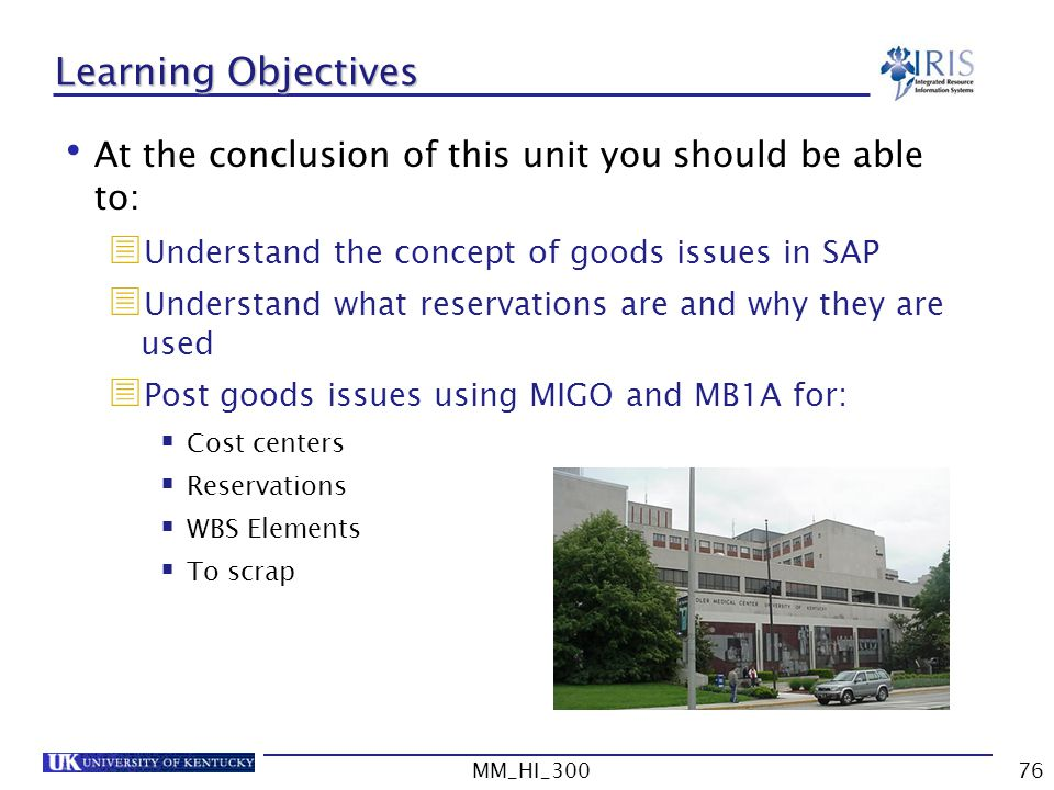 Learning Objectives At the conclusion of this unit you should be able to: Understand the concept of goods issues in SAP.