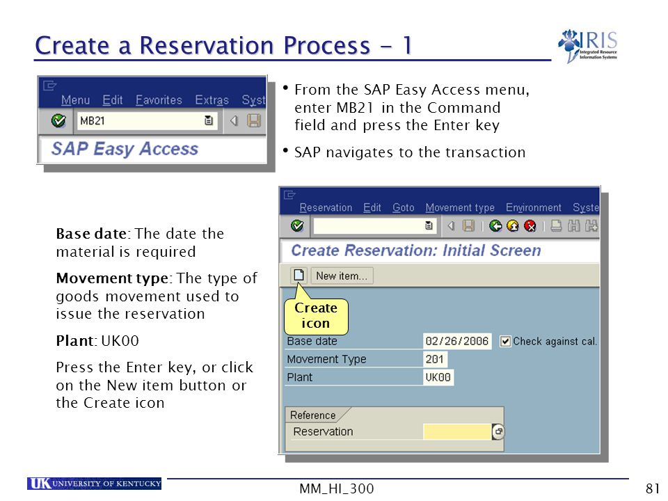 Create a Reservation Process - 1