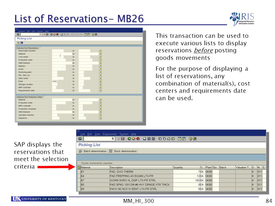 List of Reservations- MB26