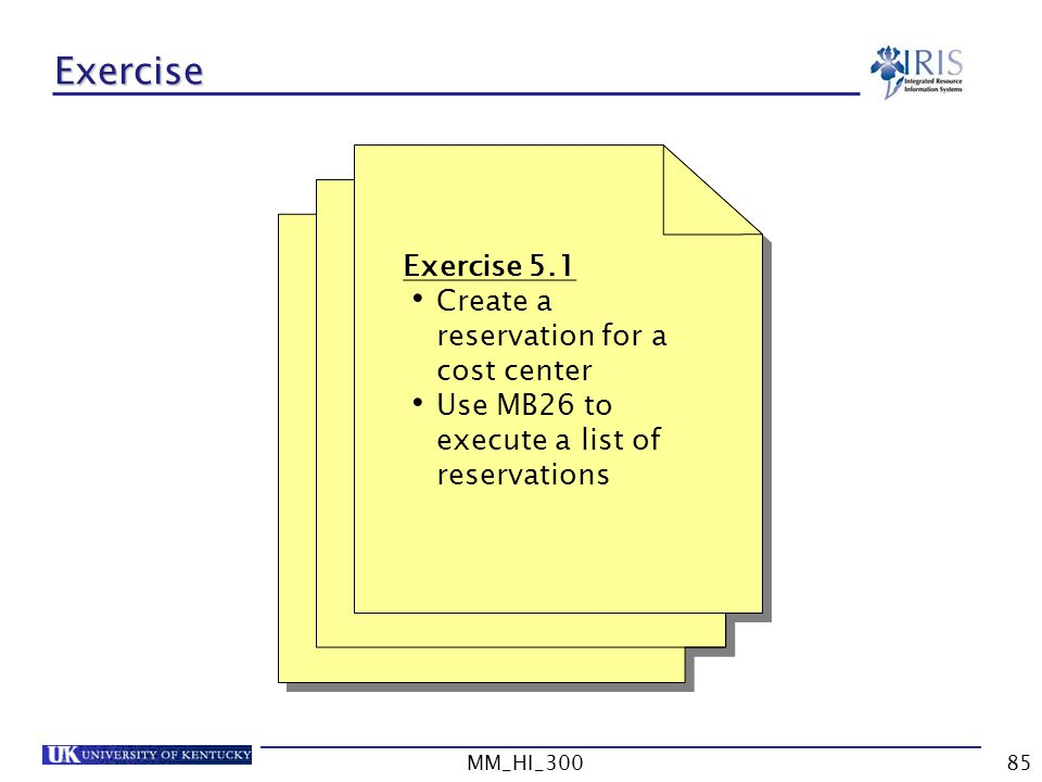 Exercise Exercise 5.1 Create a reservation for a cost center