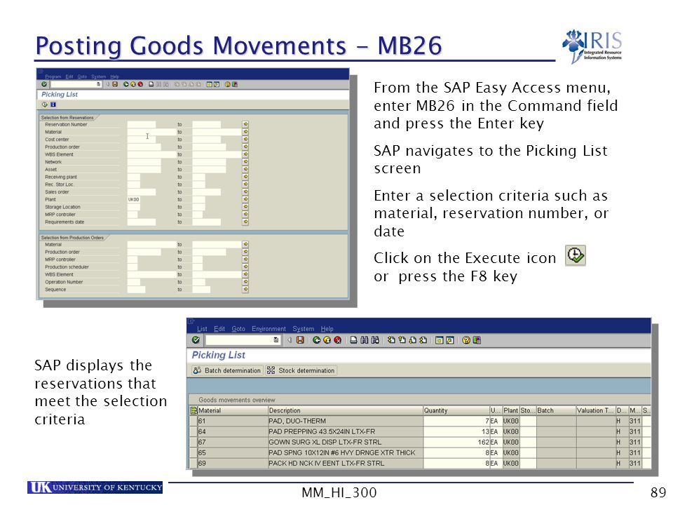 Posting Goods Movements - MB26