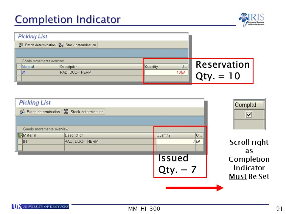 Scroll right as Completion Indicator Must Be Set