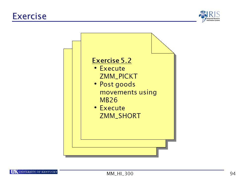 Exercise Exercise 5.2 Execute ZMM_PICKT