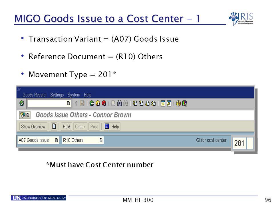 MIGO Goods Issue to a Cost Center - 1