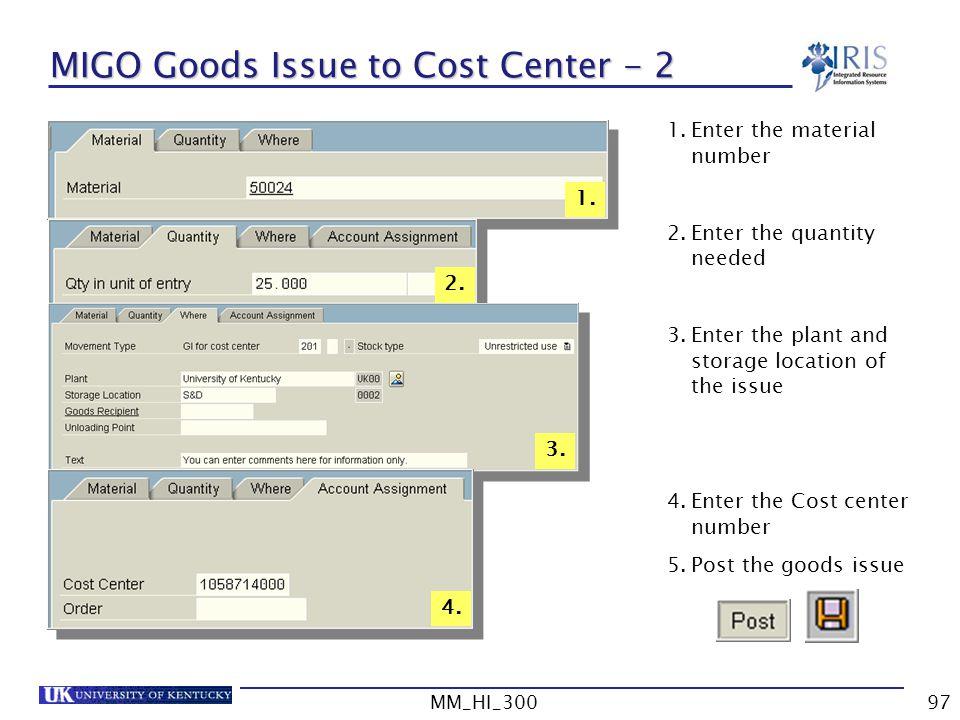 MIGO Goods Issue to Cost Center - 2