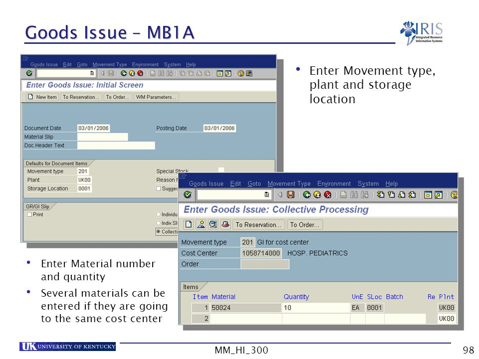 Goods Issue – MB1A Enter Movement type, plant and storage location