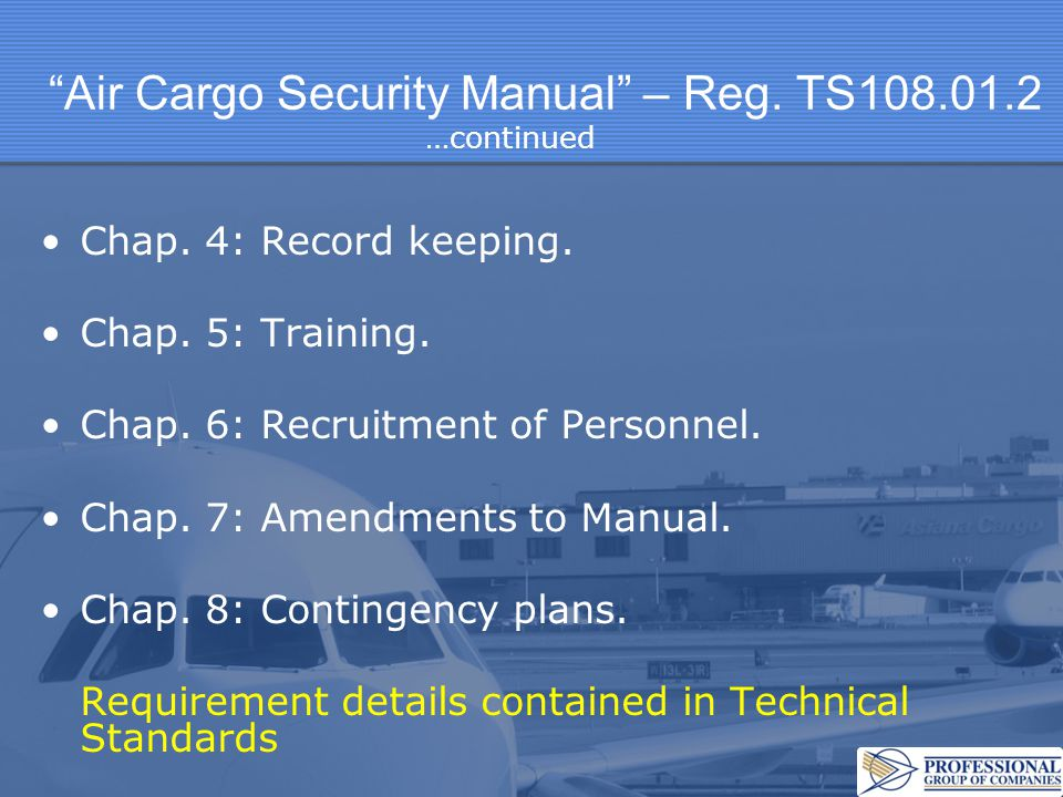 Air Cargo Security Manual – Reg. TS108.01.2