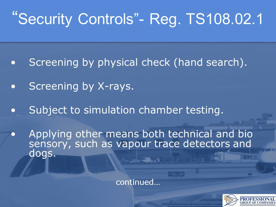 Security Controls - Reg. TS108.02.1