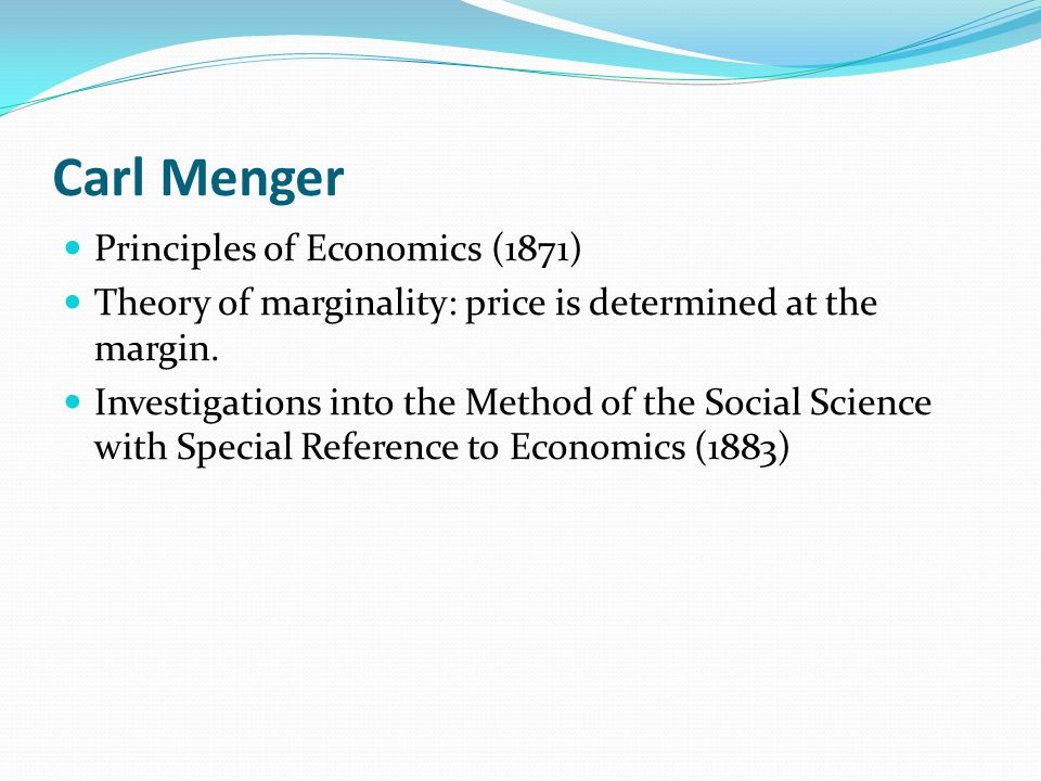 Carl Menger Principles of Economics (1871)