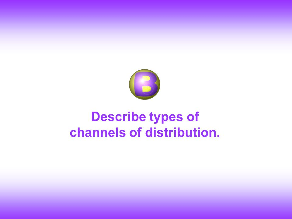 Describe types of channels of distribution.