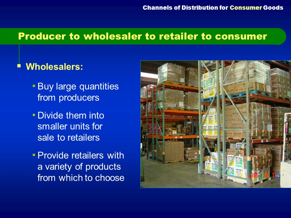 Producer to wholesaler to retailer to consumer