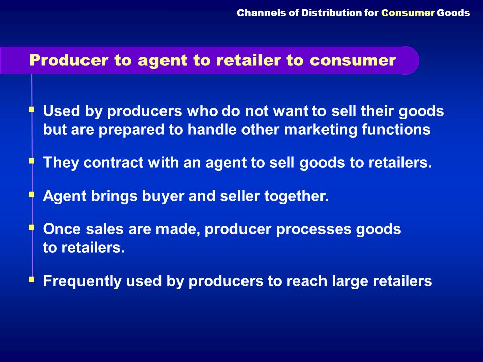 Producer to agent to retailer to consumer