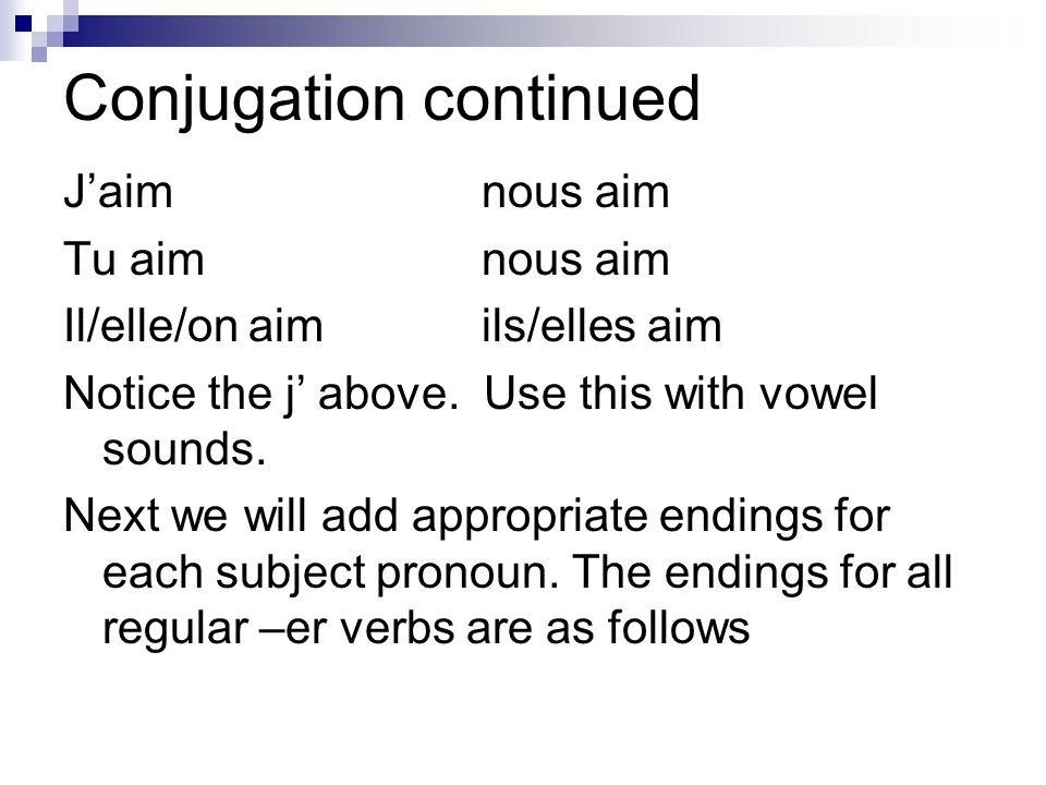Conjugation continued