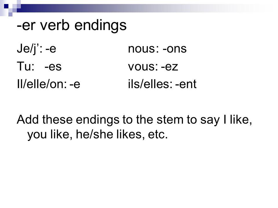 -er verb endings Je/j': -e nous : -ons Tu: -es vous: -ez