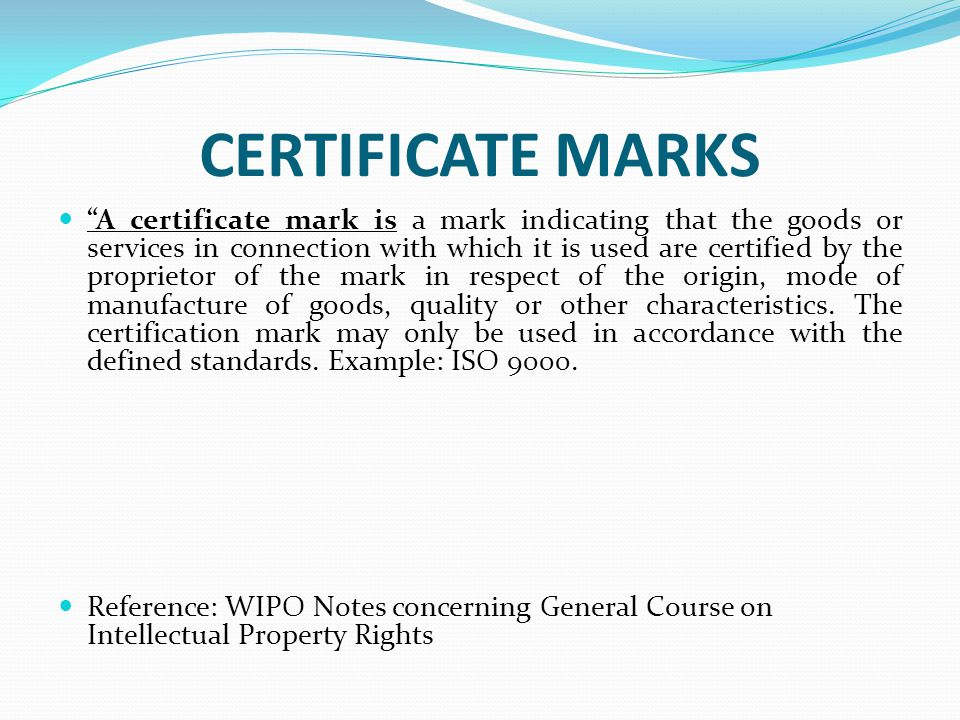 CERTIFICATE MARKS