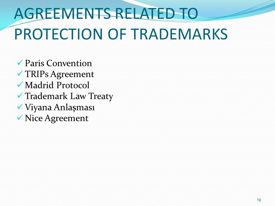 RATIFIED INTERNATIONAL AGREEMENTS RELATED TO PROTECTION OF TRADEMARKS