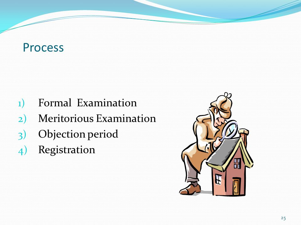 Process Formal Examination Meritorious Examination Objection period