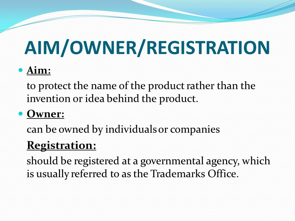 AIM/OWNER/REGISTRATION