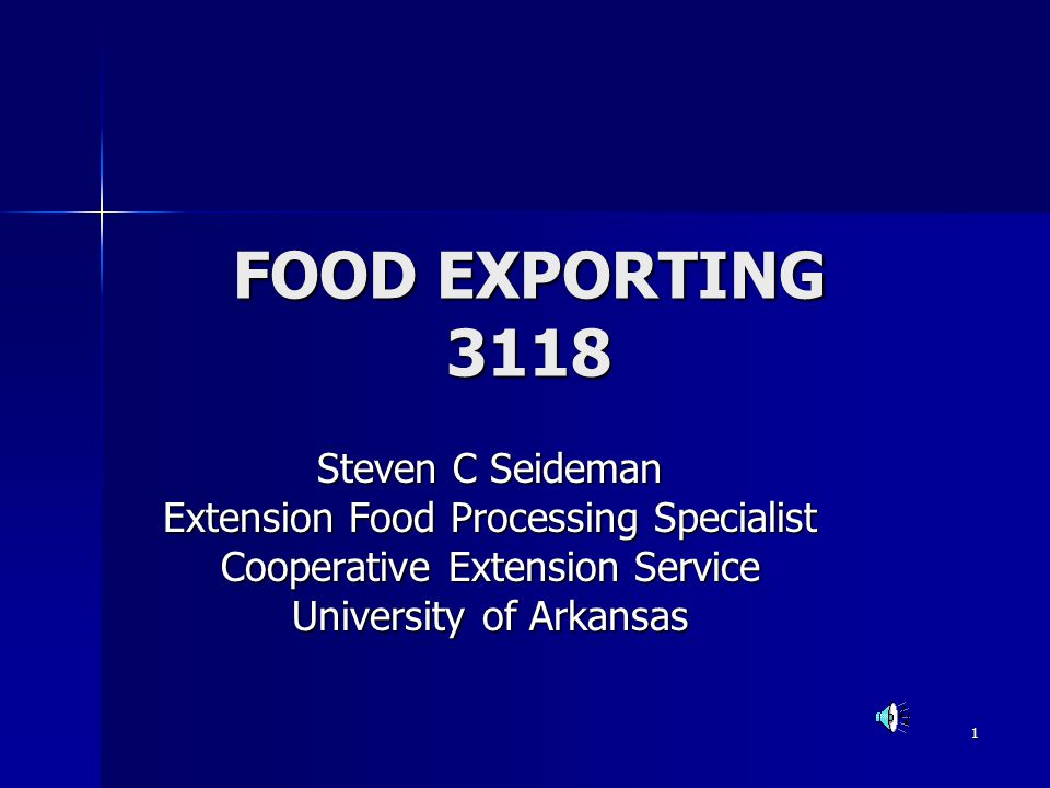 FOOD EXPORTING 3118 Steven C Seideman