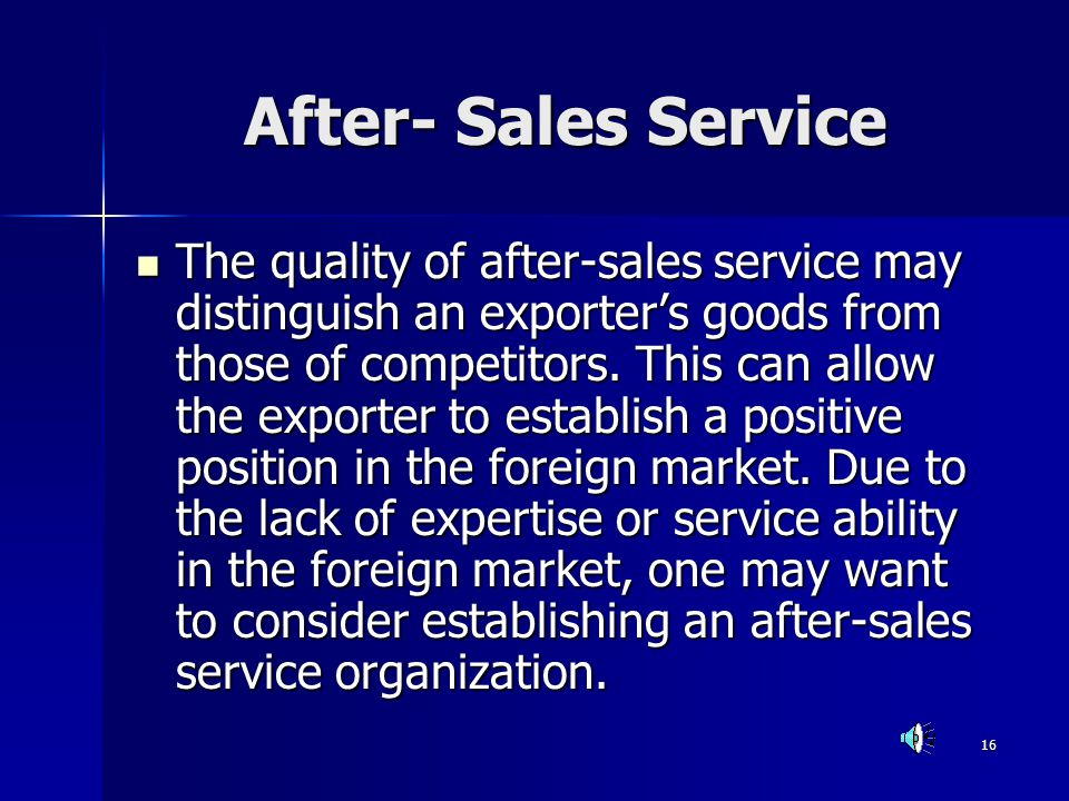 After- Sales Service