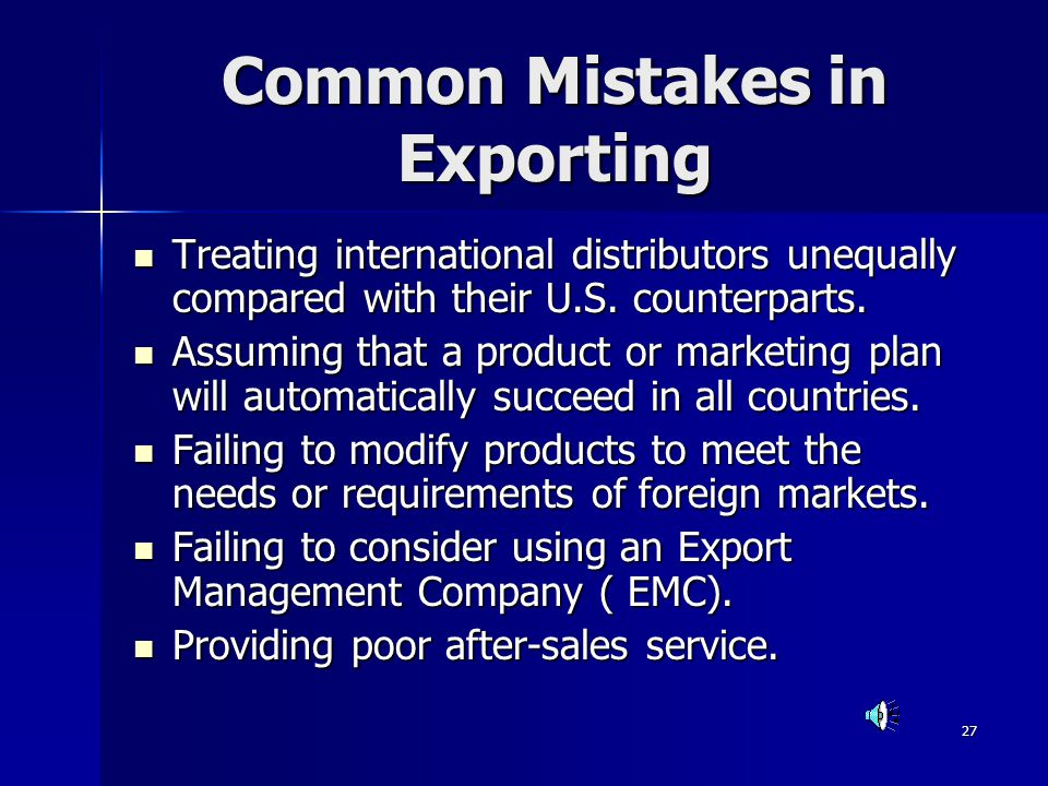 Common Mistakes in Exporting