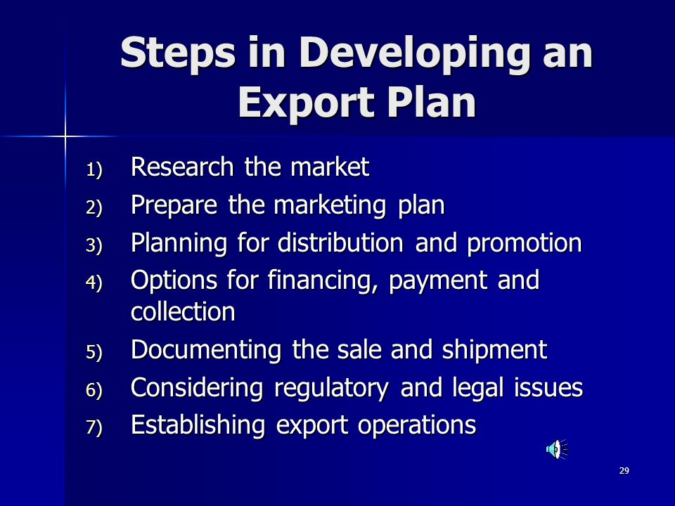 Steps in Developing an Export Plan
