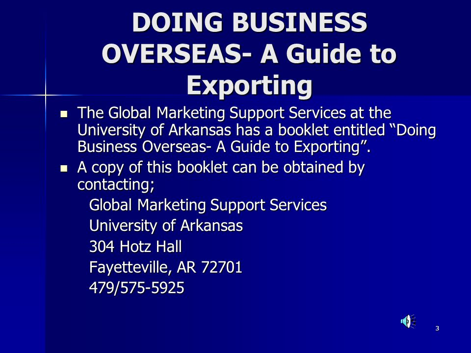DOING BUSINESS OVERSEAS- A Guide to Exporting