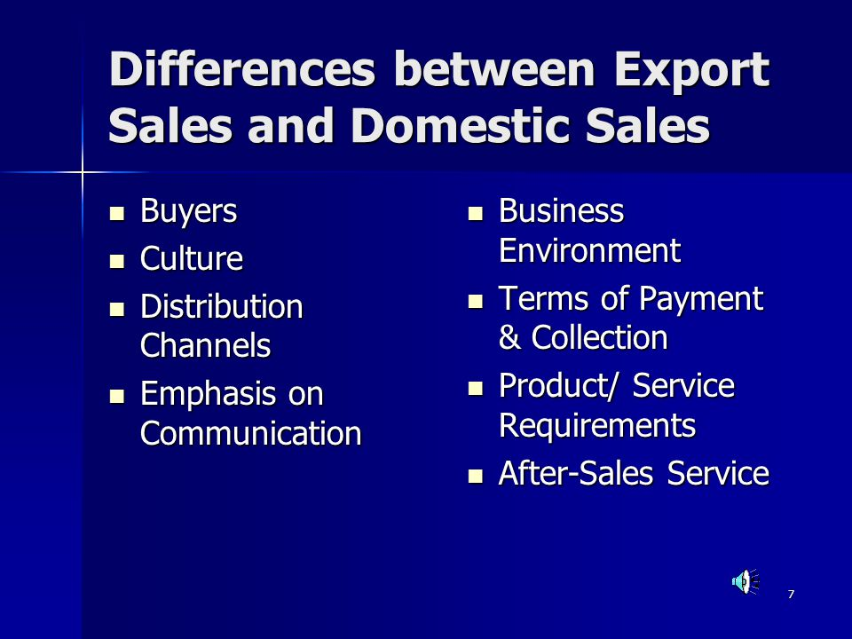 Differences between Export Sales and Domestic Sales