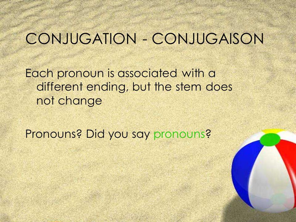 CONJUGATION - CONJUGAISON