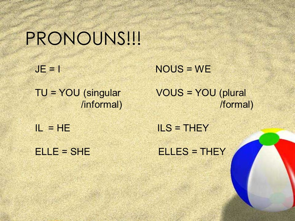 PRONOUNS!!! JE = I NOUS = WE TU = YOU (singular VOUS = YOU (plural