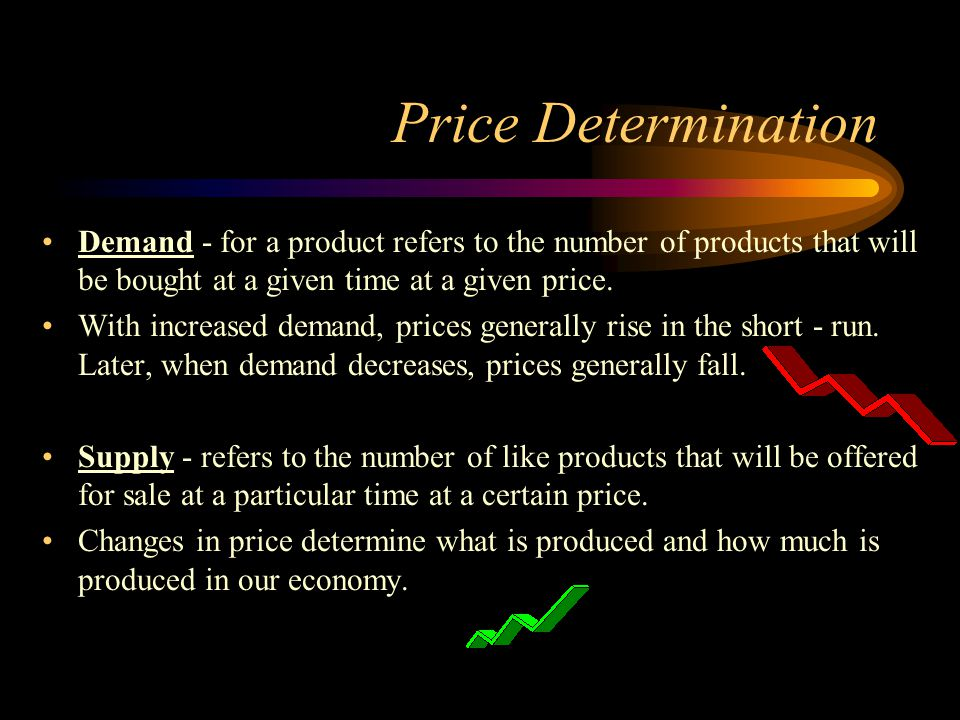 Price Determination Demand - for a product refers to the number of products that will be bought at a given time at a given price.