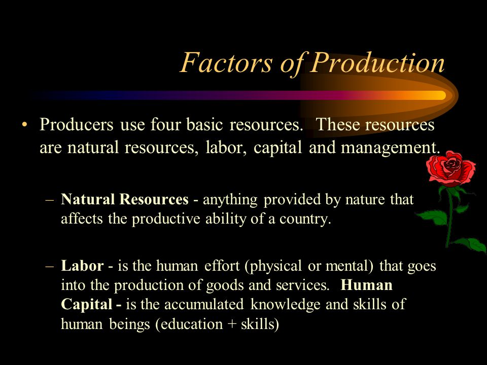 Factors of Production Producers use four basic resources. These resources are natural resources, labor, capital and management.