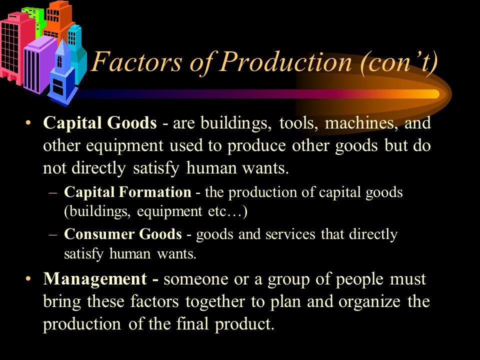 Factors of Production (con't)