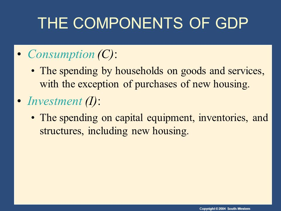 THE COMPONENTS OF GDP Consumption (C): Investment (I):