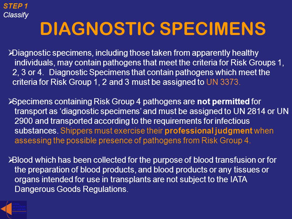 STEP 1 Classify. DIAGNOSTIC SPECIMENS. Diagnostic specimens, including those taken from apparently healthy.