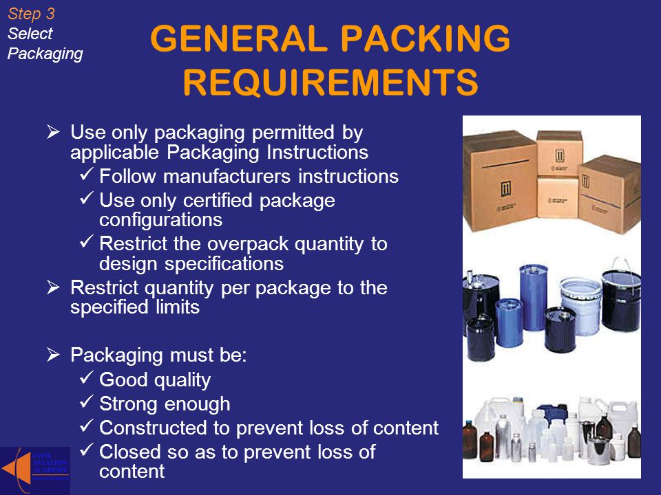 GENERAL PACKING REQUIREMENTS