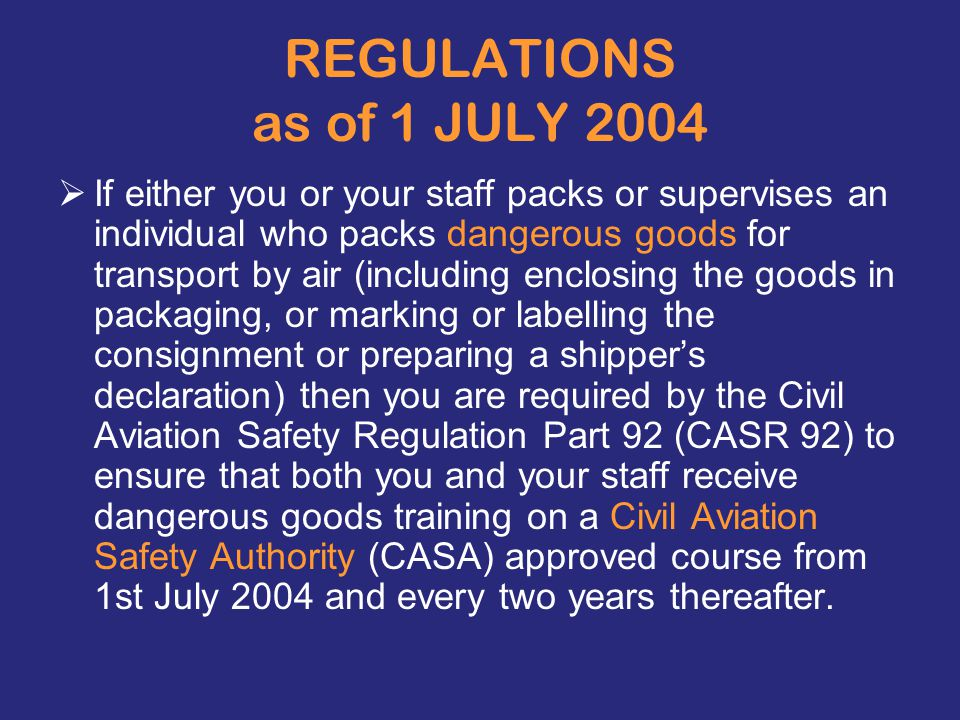 REGULATIONS as of 1 JULY 2004