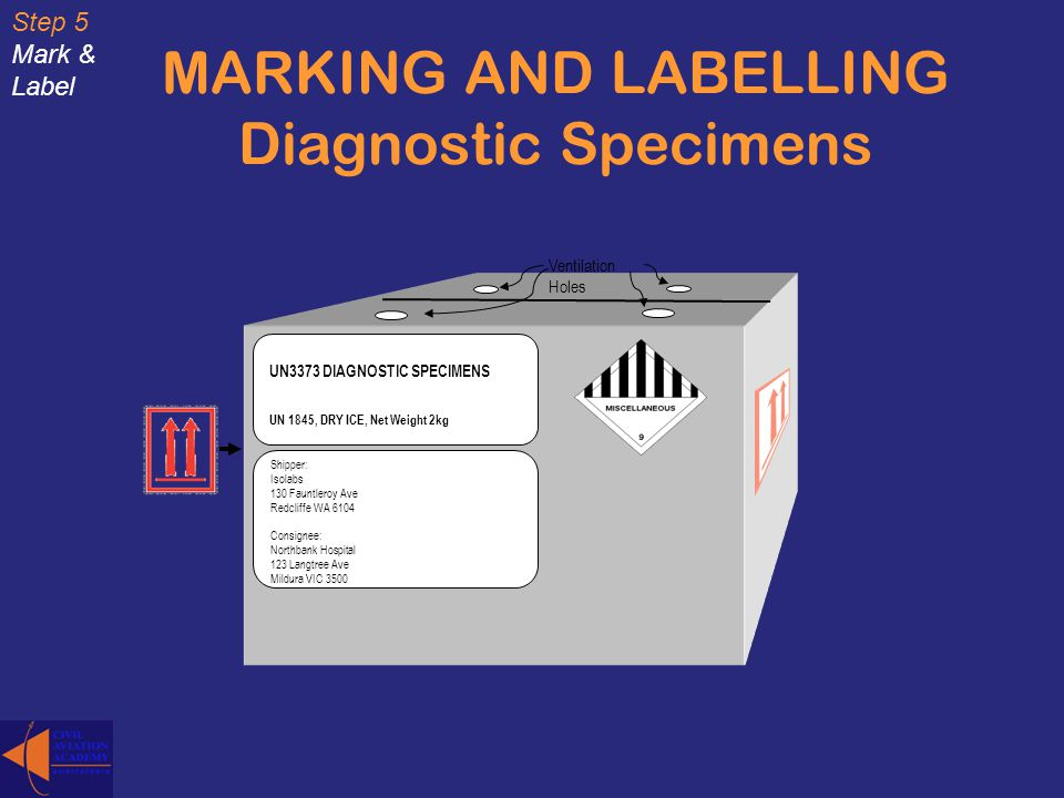 MARKING AND LABELLING Diagnostic Specimens